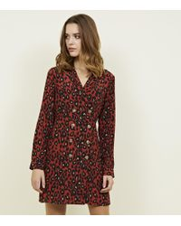 e1f89f6a0ca New Look Red Heart Print Long Sleeve Midi Shirt Dress in Red - Lyst