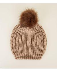 35a53a09dd0a9 New Look Grey Neon Stripe Faux Fur Pom Pom Hat in Gray - Lyst