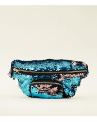 New Look - Teal And Pink 2 Way Sequin Bum Bag - Lyst