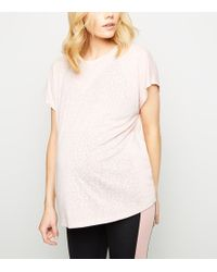 New Look - Maternity Pale Pink Burnout Leopard Print Sports T-shirt - Lyst