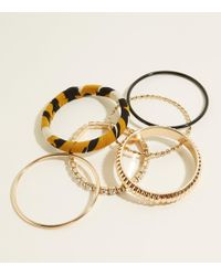 New Look - Dark Grey Leopard Print And Gold Bangles - Lyst