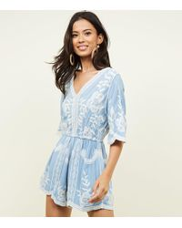 New Look - Pale Blue Floral Crochet Embroidered Playsuit - Lyst