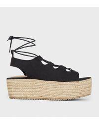 7bc00d7db0c Soludos Ghillie Suede Platform Espadrille Sandals in Black - Lyst