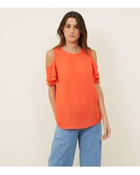 New Look - Bright Orange Cold Shoulder Tiered Sleeve Top - Lyst