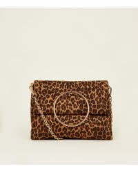 f5ca583fc257 New Look - Brown Leopard Print Suedette Ring Handle Bag - Lyst