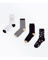 New Look - 4 Pack Black Glitter Fairy Ankle Socks - Lyst