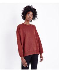 New Look - Dark Rust Balloon Sleeve Sweatshirt - Lyst