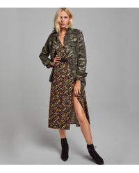 18ec850a58 New Look Black Bright Floral Button Through Midi Tea Dress in Black ...