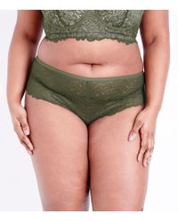 New Look - Curves Khaki Lace Brazilian Briefs - Lyst