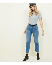 New Look - Blue Frayed Cropped Straight Leg Harlow Jeans - Lyst