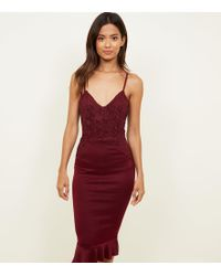 AX Paris - Plum Crochet Bodice Fishtail Dress - Lyst