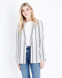 New Look - Tall White Stripe Crepe Longline Blazer - Lyst
