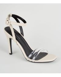 f91203cd0a93fc New Look Cream Tube Strap Stiletto Sandals in Natural - Lyst