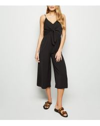68ff01e4d7 New Look Coral Tie Front Linen-look Jumpsuit in Pink - Lyst