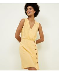 New Look - Yellow Wrap Front Tortoiseshell Button Dress - Lyst