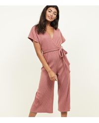 edc829c085 New Look Pale Pink Revere Collar Jumpsuit in Pink - Lyst