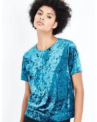 New Look - Teal Velvet T-shirt - Lyst