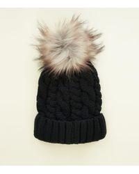 New Look Dark Grey Diamante Faux Fur Bobble Hat in Gray - Lyst b0369ee0078