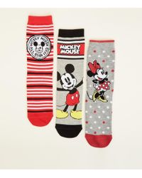 New Look - 3 Pack Mickey And Minnie Mouse Disney Socks - Lyst