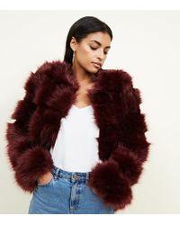 New Look - Burgundy Pelted Faux Fur Coat - Lyst