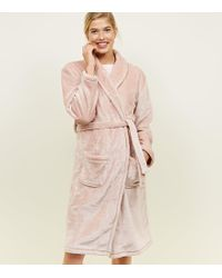New Look - Mid Pink Fluffy Longline Dressing Gown - Lyst 99ff870bd