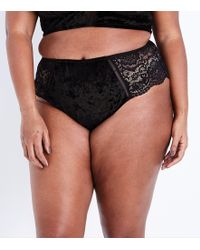 New Look - Curves Black Velvet And Lace Brazilian Briefs - Lyst