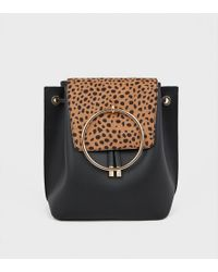 New Look - Black Animal Print Ring Front Backpack - Lyst