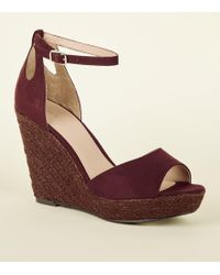 d88eabeb8317 New Look Tan Suedette Cross Strap Wedges in Brown - Lyst