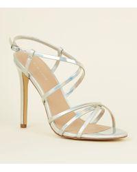 deec131326d New Look Rose Gold Metallic T-bar Stiletto Sandals in Metallic - Lyst