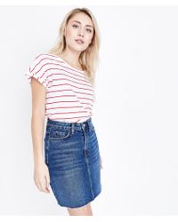 New Look   Petite Blue Frayed Hem Denim Skirt   Lyst