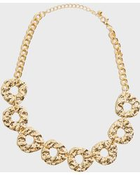 New Look - Gold Hammered Ring Chain Necklace - Lyst