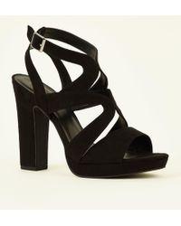 ed2ab291793 New Look Black Suedette Platform Block Heel Sandals in Black - Lyst