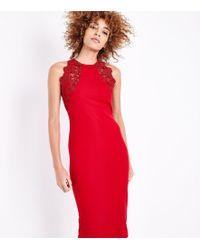 d7232189d2 AX Paris - Red Lace Trim Sleeveless Midi Dress - Lyst