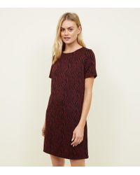 New Look - Red Zebra Jacquard Tunic Dress - Lyst