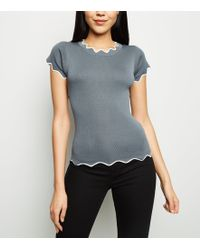 Apricot - Grey Zig-zag Trim Knitted Top - Lyst