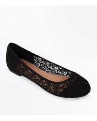 New Look - Wide Fit Black Crochet Ballet Court Shoes - Lyst