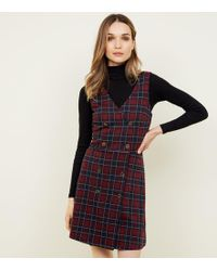 New Look - Red Check Double Breasted Pinafore Dress - Lyst