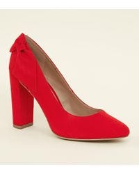 823e8f7ef07 New Look Wide Fit Red Suedette Bow Back Heels in Red - Lyst