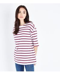 New Look - Red Stripe Drop Sleeve Oversized T-shirt - Lyst