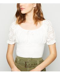 New Look - Cream Lace Milkmaid Top - Lyst