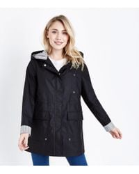New Look - Petite Black Stripe Lined Anorak - Lyst