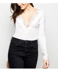 Missguided Lorenza Mesh Panel Bodysuit in Cream in Natural - Lyst 34495dd6e
