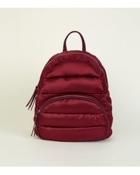 New Look - Dark Red Quilted Puffer Backpack - Lyst
