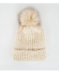 1ef8ef6e47a New Look - Cream Chenille Tinsel Faux Fur Bobble Hat - Lyst