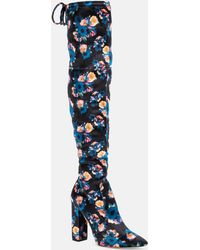 Nicole Miller - Rozilyn Velvet Poppy Print Over The Knee Boot - Lyst