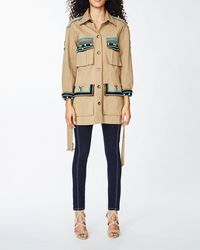 Nicole Miller Paradise Stripe Embroidery Safari Jacket - Natural