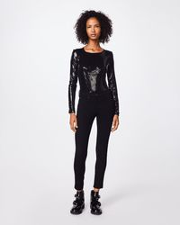 Nicole Miller - Sequin Long Sleeve Bodysuit - Lyst