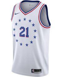 Nike Joel Embiid Earned City Edition Swingman (philadelphia 76ers) Nba Connected Jersey - White