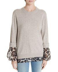 Brochu Walker - Layered Animal Print Wool & Cashmere Sweater - Lyst