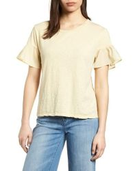 Velvet By Graham & Spencer - Slub Cotton Voile Sleeve Tee - Lyst